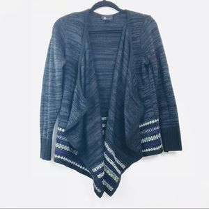 AB Studio Grey Knit  Open Waterfall Cardi L